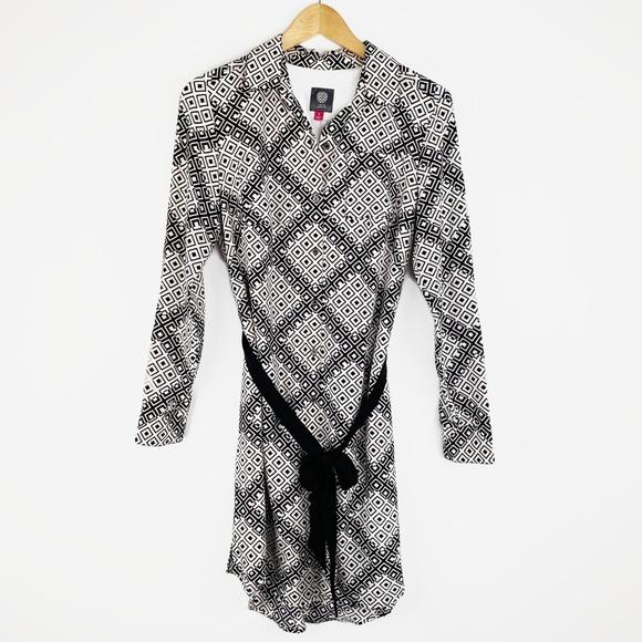 Vince Camuto Dresses & Skirts - Vince Camuto Geometric Shirt Dress Tie Belt 6
